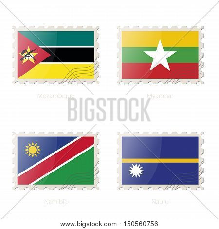 Postage Stamp With The Image Of Mozambique, Myanmar, Namibia, Nauru Flag.