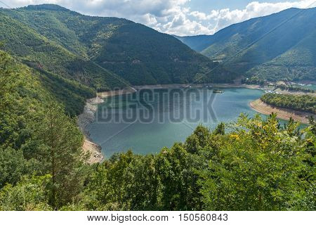 Green forest around Meander of Vacha (Antonivanovtsy) Reservoir, Rhodopes Mountain, Bulgaria