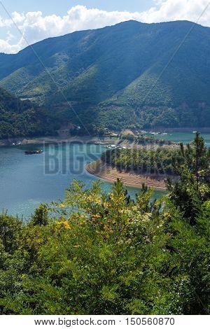 landscape of Meander of Vacha (Antonivanovtsy) Reservoir, Rhodopes Mountain, Bulgaria