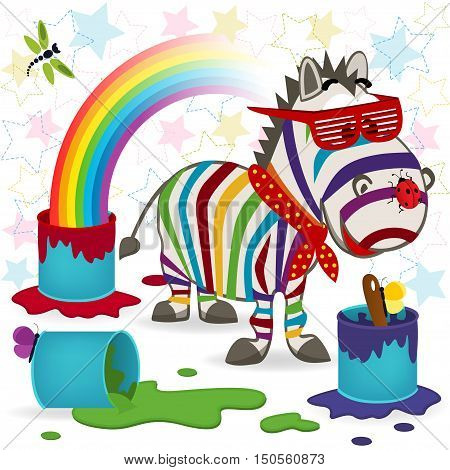 funny zebra and rainbow - vector  illustration, eps