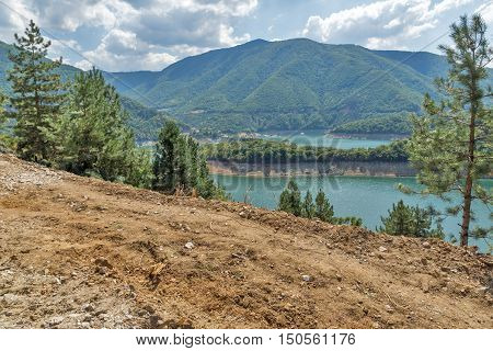 Amazing view of Meander of Vacha (Antonivanovtsy) Reservoir, Rhodopes Mountain, Bulgaria