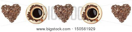 The panoramic background of I love coffee concept. Cup of coffee and coffee beans.