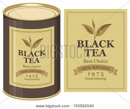 Vector illustration of a tin can with label of black tea