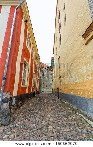 Cobblestone street with old buildings in Stockholm Sweden