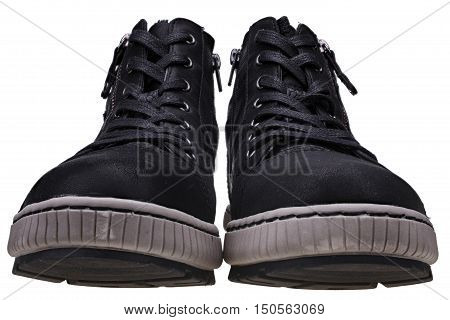 Fake leather black high sneakers isolated on white background with clipping path