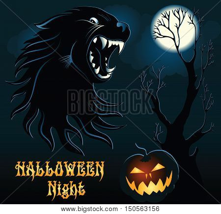 Halloween Background with Wild Wolf and Pumpkin