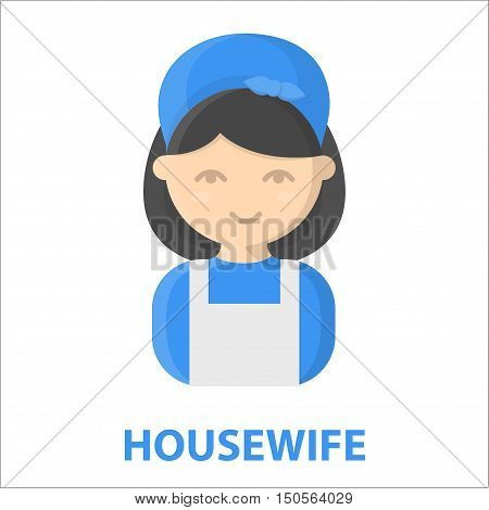 Housewife cartoon icon. Illustration for web and mobile.