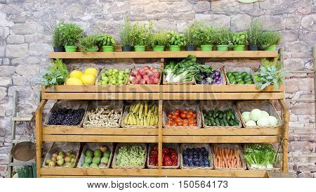 fruit vegetables shelves colorful market background shelf