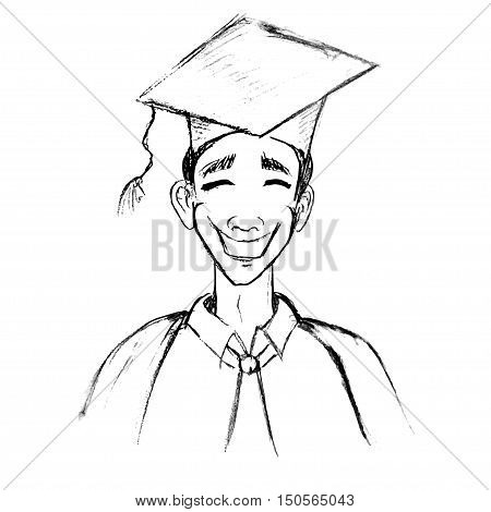 student in graduation gown. pencil drawn. ink draw