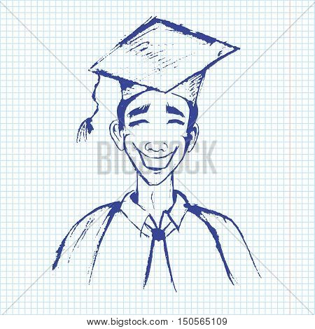 student in graduation gown. copy book paper background. pen drawn. senior on notebook sheet in sketch style