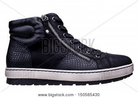Black high sneaker isolated on white background with clipping path