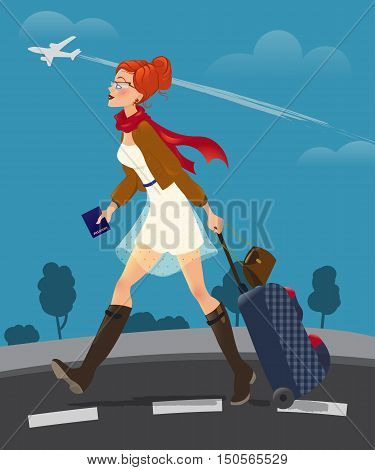 Illustration of traveling woman holding passport. cute girl with suitcase go to the airport