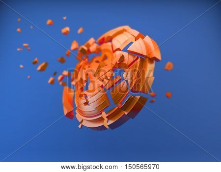 3d shatters clay target for shooting on a blue sky