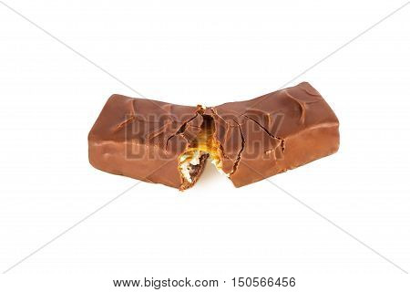 Closeup of chocolate bar isolated on white background. With clipping path