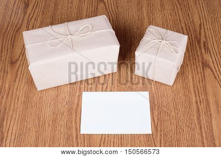 Gift Packages Wrapped In Brown Recycled Paper