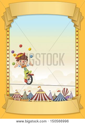 Poster with cartoon clown juggling on tightrope over retro circus. Vintage carnival banner with ribbons.