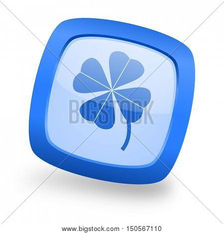 four-leaf clover blue glossy web design icon