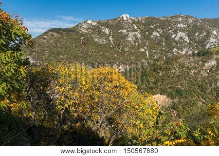 Autumn view of Anathema hill in Rhodopes Mountain from Asen's Fortress, Asenovgrad, Plovdiv Region, Bulgaria