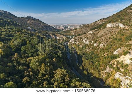 Amazing panorama of town of Asenovgrad from Asen's Fortress,  Plovdiv Region, Bulgaria