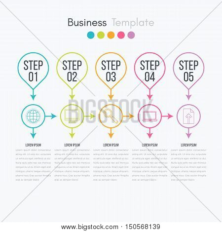 Thin line infographic element. Linear flat chart, diagram, scheme, graph with 5 steps