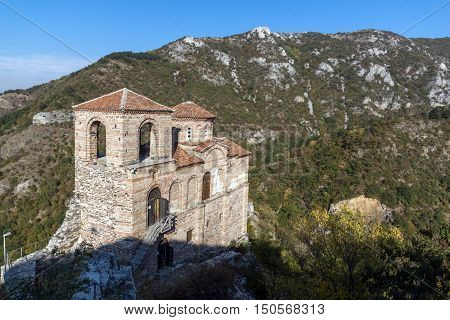 Panorama of Church of the Holy Mother of God in Asen's Fortress and Rhodopes mountain, Asenovgrad, Plovdiv Region, Bulgaria