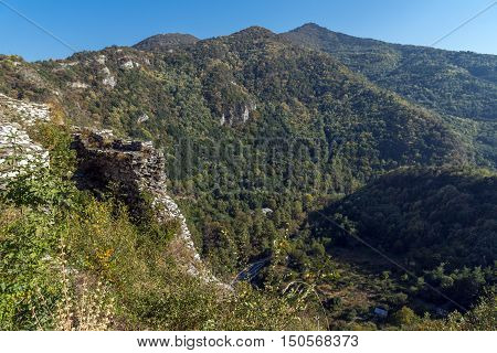 Autumn Landscape to  Rhodopes mountain and ruins from Asen's Fortress,  Plovdiv Region, Bulgaria