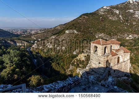 Panoramic view of Church of the Holy Mother of God in Asen's Fortress and town of Asenovgrad, Plovdiv Region, Bulgaria