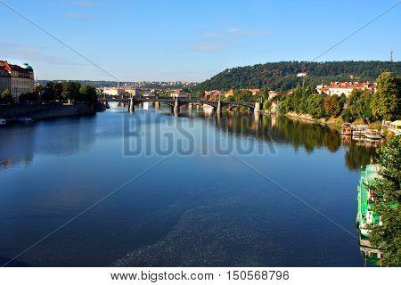 Prague Czech Republic panorama with historic Bridges and Vltava river.