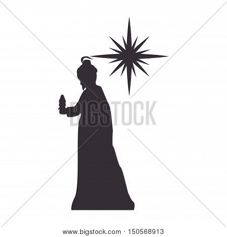 magi man king and sparkle star. silhouette vector illustration
