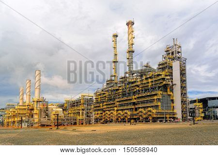 Tobolsk, Russia - July 15. 2016: Sibur company. Polymer plant. Gas-chemical complex on polypropylene production