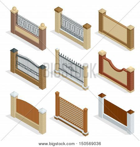 Vector Isometric icon or infographic Different designs of fences and gates isolated on a white background. Stone fence, iron fence, wrought-iron fence illustration