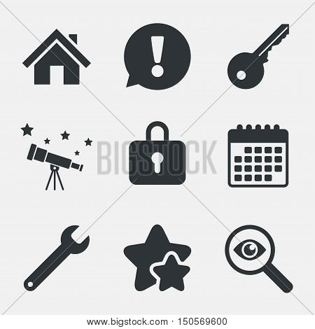 Home key icon. Wrench service tool symbol. Locker sign. Main page web navigation. Attention, investigate and stars icons. Telescope and calendar signs. Vector