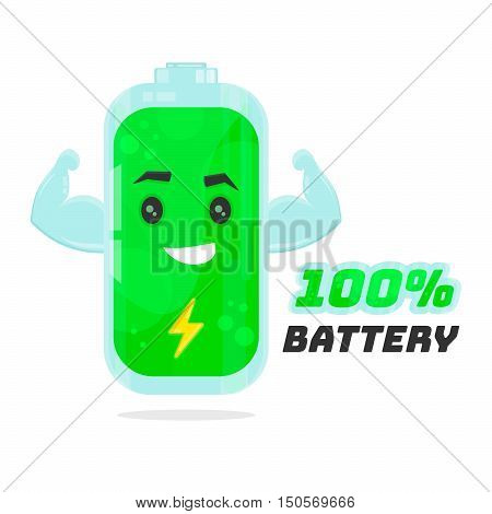 Full 100% battery character design. Vector flat cartoon illustration. Energy power concept. Isolated on white background