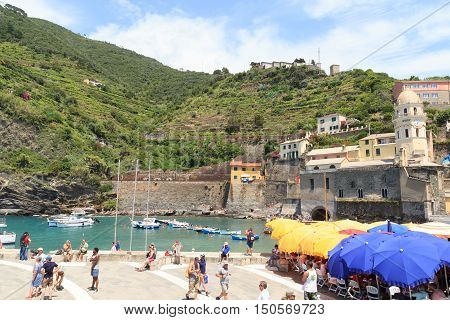 Lighthouse And Olive Terraces In Cinque Terre Village Vernazza, Italy
