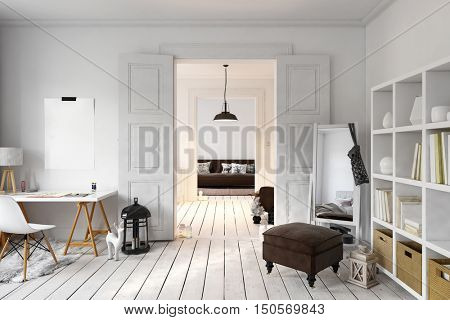 Interior of loft office and living space with tall mirror in corner. 3D rendering