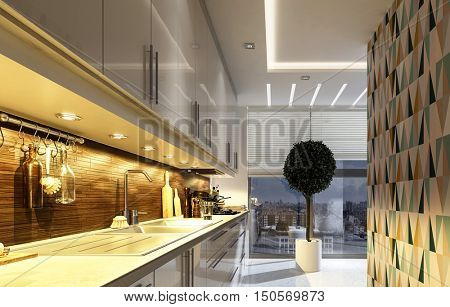 Stylish modern kitchen with geometric accent wall, illuminated down lights lighting up the counter and appliances and a potted topiary tree in front of a large view window, 3d rendering