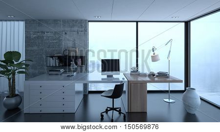 3d rendering of small home office interior at luxury home with wide desk. Watery scene in background through windows.