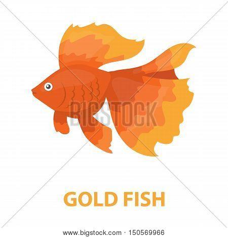 Gold fish icon cartoon. Singe aquarium fish icon from the sea, ocean life cartoon.