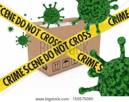 Virus Infected Package Behind Crime Scene Tape 3D Illustration