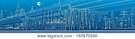 Architectural and infrastructure panorama, transport overpass, highway, big bridge, white lines urban scene, night city on background, vector design art