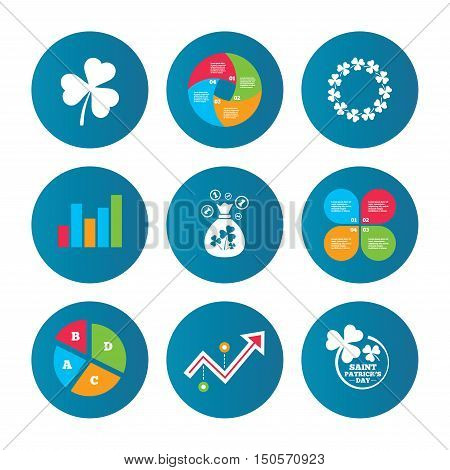 Business pie chart. Growth curve. Presentation buttons. Saint Patrick day icons. Money bag with clover sign. Wreath of trefoil shamrock clovers. Symbol of good luck. Data analysis. Vector