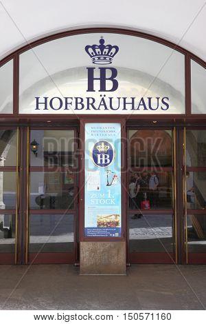 MUNICH, GERMANY - MAY 18, 2016: Main entrance of Hofbraeuhaus beerhouse in Munich