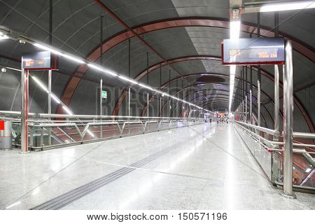 MADRID, SPAIN - September 05, 2016: Perspectiveof hall of underground railway station Sol in Madrid