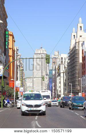 MADRID, SPAIN - September 06, 2016: Road traffic on Gran Via street near metro Callao in Madrid
