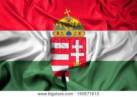 Waving Flag Of Hungary With Coat Of Arms