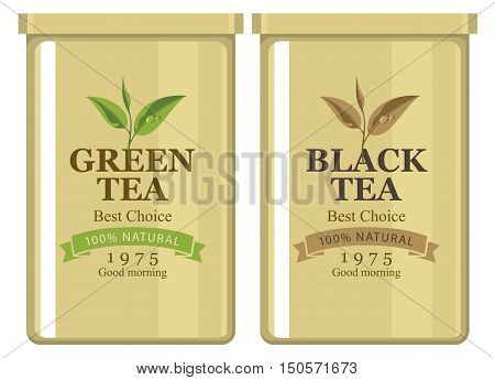 Vector illustration of a tin can with label of black and green tea