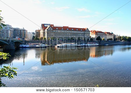 Prague Czech Republic panorama on turist boats and Vltava river
