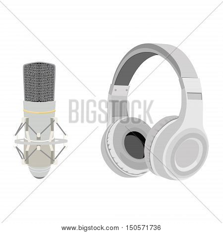 Vector illustration realistic white headphones and vintage microphone. Retro microphone isolated on white. Microphone and stereo headphones icon