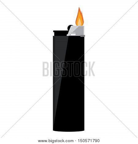 Vector illustration black pocket lighter with fire. Lighter icon. Burning lighter. Modern fuel lighter