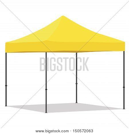 Yellow folding tent vector illustration. Pop up gazebo. Canopy tent